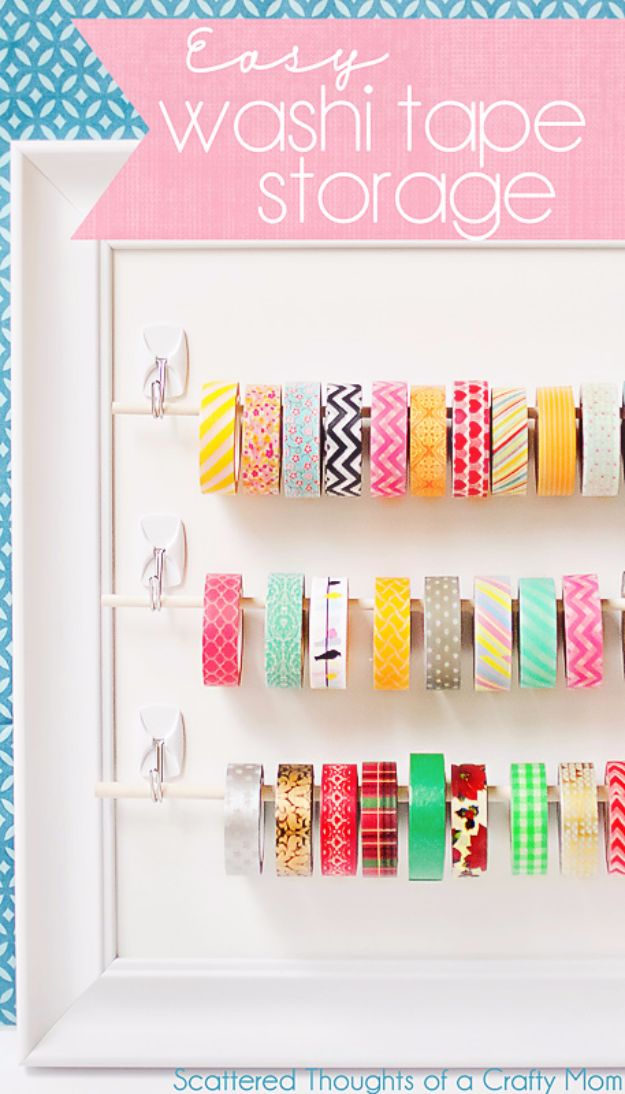 DIY Craft Room Storage Ideas and Craft Room Organization Projects - Easy Washi Tape Storage - Cool Ideas for Do It Yourself Craft Storage, Craft Room Decor and Organizing Project Ideas - fabric, paper, pens, creative tools, crafts supplies, shelves and sewing notions #diyideas #craftroom