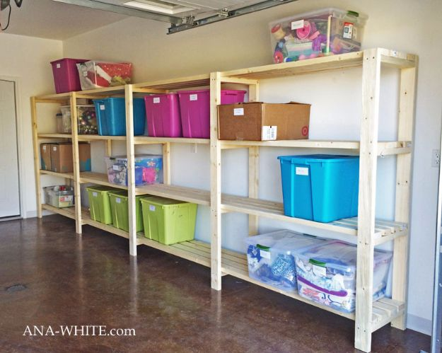 DIY Projects Your Garage Needs - Economical Garage Shelving - Do It Yourself Garage Makeover Ideas Include Storage, Mudroom, Organization, Shelves, and Project Plans for Cool New Garage Decor - Easy Home Decor on A Budget http://diyjoy.com/diy-garage-ideas