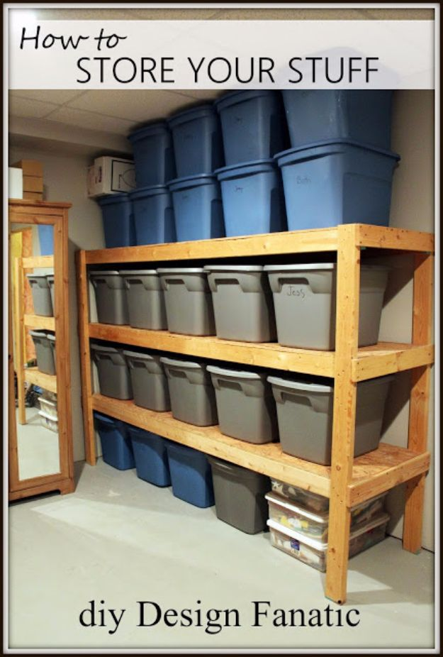 DIY Projects Your Garage Needs - Efficient Shelving Unit - Do It Yourself Garage Makeover Ideas Include Storage, Mudroom, Organization, Shelves, and Project Plans for Cool New Garage Decor - Easy Home Decor on A Budget http://diyjoy.com/diy-garage-ideas