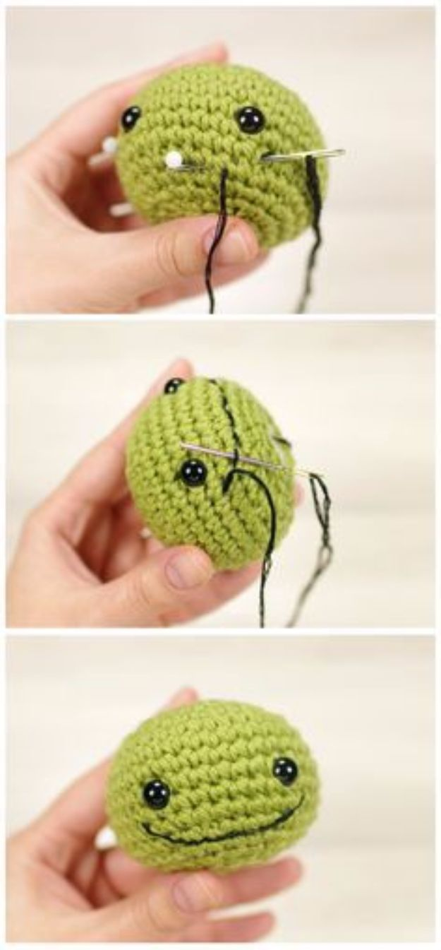 Free Amigurumi Patterns For Beginners and Pros - Embroidering A Smile - Easy Amigurimi Tutorials With Step by Step Instructions - Learn How To Crochet Cute Amigurimi Animals, Doll, Mobile, Mini Elephant, Cat, Dinosaur, Owl, Bunny, Dog - Creative Ways to Crochet Cool DIY Gifts for Kids, Teens, Baby and Adults http://diyjoy.com/free-amigurumi-patterns