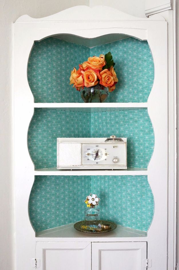 DIY Hacks for Renters - Fabric Lined Built-In Shelves - Easy Ways to Decorate and Fix Things on Rental Property - Decorate Walls, Cheap Ideas for Making an Apartment, Small Space or Tiny Closet Work For You - Quick Hacks and DIY Projects on A Budget - Step by Step Tutorials and Instructions for Simple Home Decor http://diyjoy.com/diy-hacks-renters