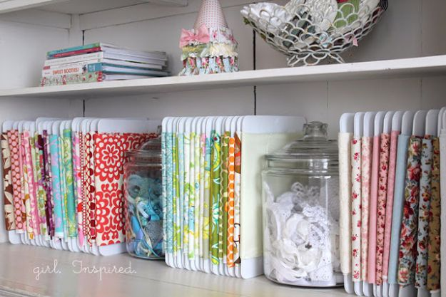 DIY Craft Room Storage Ideas and Craft Room Organization Projects - Fabric Storage - Cool Ideas for Do It Yourself Craft Storage, Craft Room Decor and Organizing Project Ideas - fabric, paper, pens, creative tools, crafts supplies, shelves and sewing notions #diyideas #craftroom