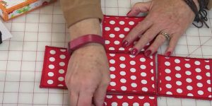 She Fuses Fabric To A Product, Sews Each Square, And Makes An Item We Can All Use!