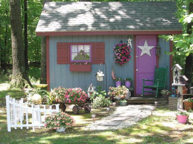 DIY Storage Sheds and Plans - Fairy Tale Style Shed - Cool and Easy Storage Shed Makeovers, Cheap Ideas to Build This Weekend, Basic Woodworking Projects to Add Extra Storage Space to Your Home or Small Backyard - How To Build A Shed With Pallets - Step by Step Tutorials and Instructions http://diyjoy.com/diy-storage-sheds-plans