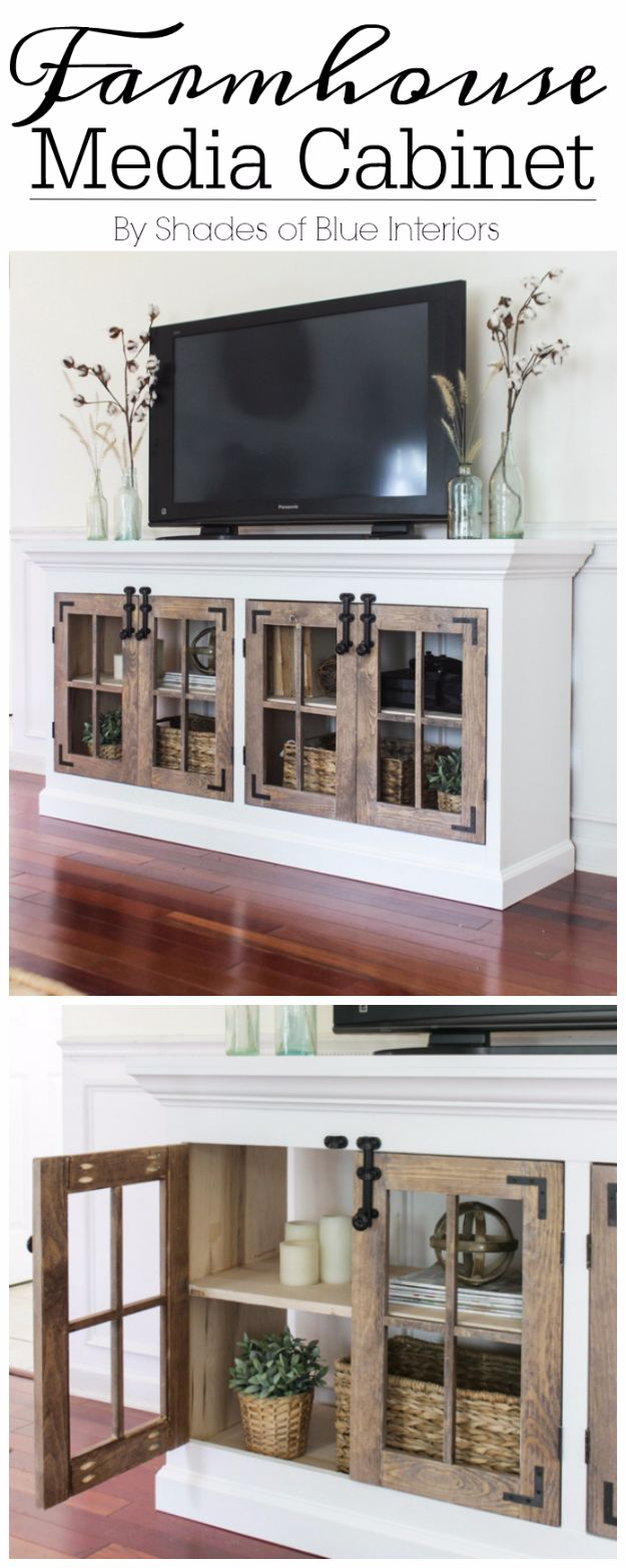 DIY Media Room Ideas - Farmhouse Media Cabinet - Do It Yourslef TV Consoles, Wall Art, Sofas and Seating, Chairs, TV Stands, Remote Holders and Shelving Tutorials - Creative Furniture for Movie Rooms and Video Game Stations http://diyjoy.com/diy-media-room-ideas