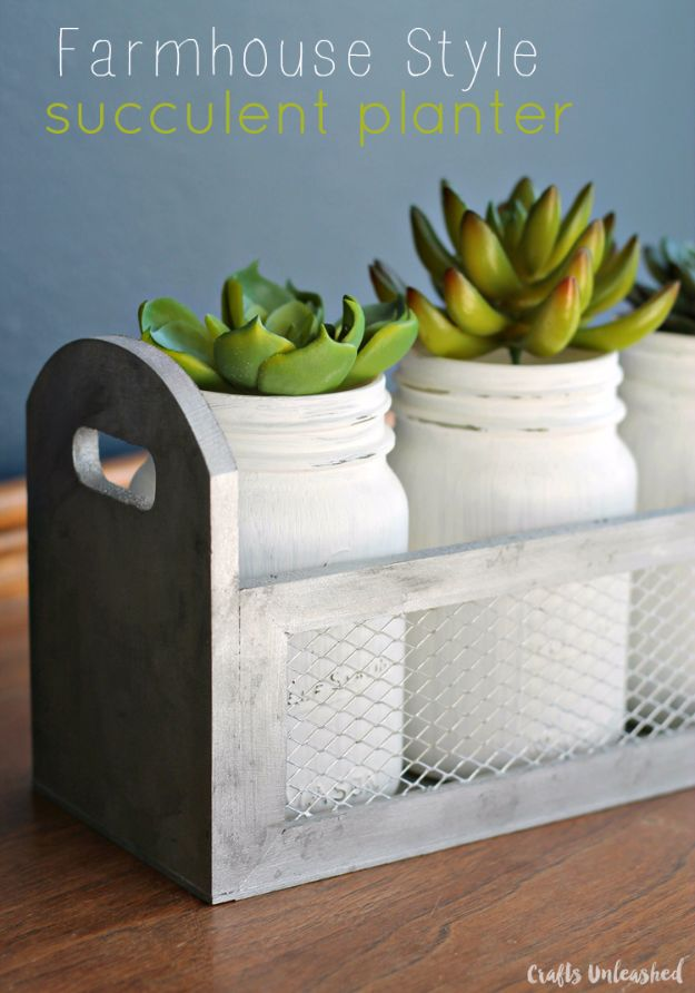 Country Crafts to Make And Sell - Farmhouse Style DIY Succulent Planter Box - Easy DIY Home Decor and Rustic Craft Ideas - Step by Step Farmhouse Decor To Make and Sell on Etsy and at Craft Fairs - Tutorials and Instructions for Creative Ways to Make Money - Best Vintage Farmhouse DIY For Living Room, Bedroom, Walls and Gifts