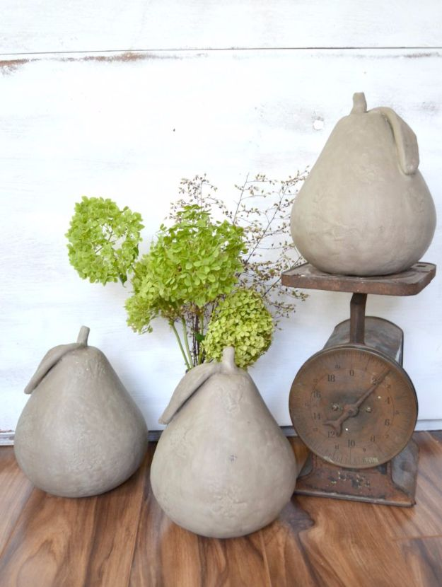Farmhouse Decor to Make And Sell - Faux Concrete Pears - Easy DIY Home Decor and Rustic Craft Ideas - Step by Step Country Crafts, Farmhouse Decor To Make and Sell on Etsy and at Craft Fairs - Tutorials and Instructions for Creative Ways to Make Money - Best Vintage Farmhouse DIY For Living Room, Bedroom, Walls and Gifts #diydecor