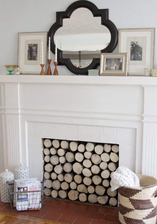 DIY Home Improvement Projects On A Budget - Faux Log Stack For The Fireplace - Cool Home Improvement Hacks, Easy and Cheap Do It Yourself Tutorials for Updating and Renovating Your House - Home Decor Tips and Tricks, Remodeling and Decorating Hacks - DIY Projects