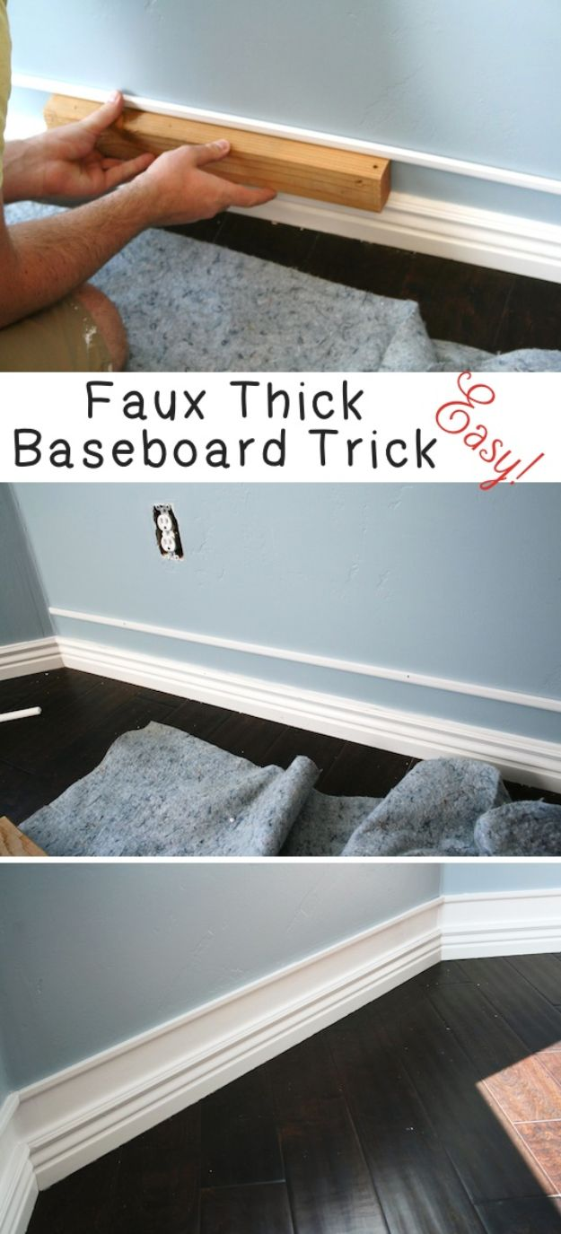 DIY Remodeling Hacks - Faux Thick Baseboard Trick - Quick and Easy Home Repair Tips and Tricks - Cool Hacks for DIY Home Improvement Ideas - Cheap Ways To Fix Bathroom, Bedroom, Kitchen, Outdoor, Living Room and Lighting - Creative Renovation on A Budget - DIY Projects and Crafts by DIY JOY #remodeling #homeimprovement #diy #hacks