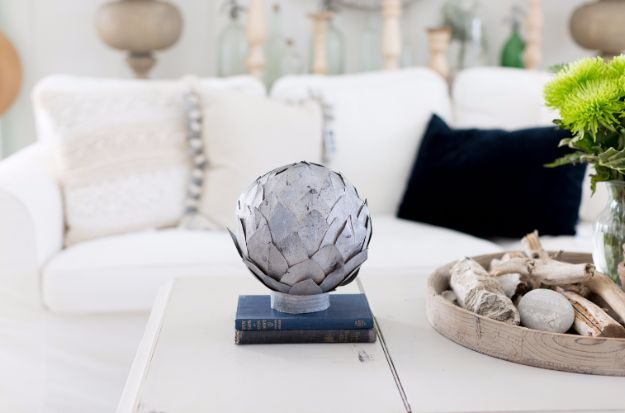 Farmhouse Decor to Make And Sell - Faux Zinc Leaf Sphere - Easy DIY Home Decor and Rustic Craft Ideas - Step by Step Country Crafts, Farmhouse Decor To Make and Sell on Etsy and at Craft Fairs - Tutorials and Instructions for Creative Ways to Make Money - Best Vintage Farmhouse DIY For Living Room, Bedroom, Walls and Gifts #diydecor