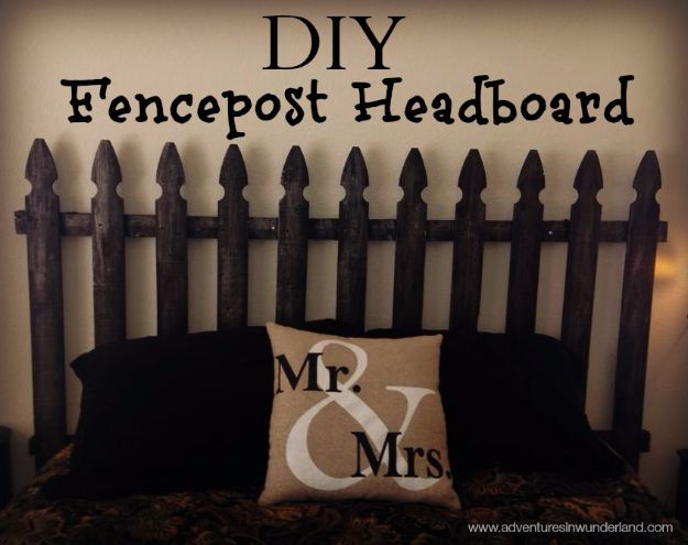 DIY Ideas With Old Fence Posts - Fencepost Headboard - Rustic Farmhouse Decor Tutorials and Projects Made With An Old Fence Post - Easy Vintage Shelving, Wall Art, Picture Frames and Home Decor for Kitchen, Living Room and Bathroom - Creative Country Crafts, Seating, Furniture, Patio Decor and Rustic Wall Art and Accessories to Make and Sell http://diyjoy.com/diy-projects-old-windows