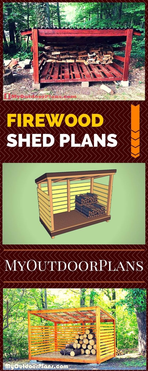 DIY Storage Sheds and Plans - Firewood Shed Plans - Cool and Easy Storage Shed Makeovers, Cheap Ideas to Build This Weekend, Basic Woodworking Projects to Add Extra Storage Space to Your Home or Small Backyard - How To Build A Shed With Pallets - Step by Step Tutorials and Instructions #storageideas #diyideas #diyhome