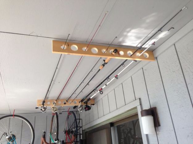 DIY Projects Your Garage Needs - Fishing Pole Storage - Do It Yourself Garage Makeover Ideas Include Storage, Mudroom, Organization, Shelves, and Project Plans for Cool New Garage Decor - Easy Home Decor on A Budget http://diyjoy.com/diy-garage-ideas
