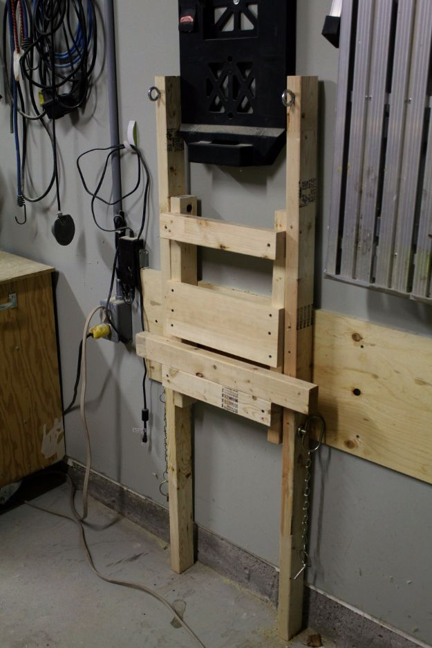 DIY Projects Your Garage Needs - Fold Up Suspended Shelf - Do It Yourself Garage Makeover Ideas Include Storage, Mudroom, Organization, Shelves, and Project Plans for Cool New Garage Decor - Easy Home Decor on A Budget http://diyjoy.com/diy-garage-ideas