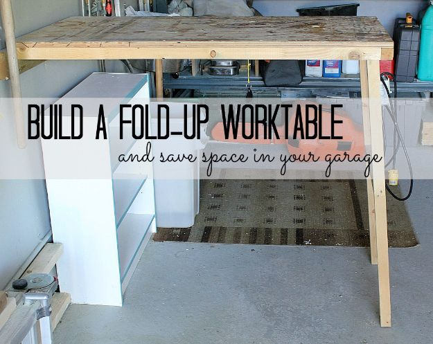 DIY Projects Your Garage Needs - Fold-up Garage Worktable - Do It Yourself Garage Makeover Ideas Include Storage, Mudroom, Organization, Shelves, and Project Plans for Cool New Garage Decor - Easy Home Decor on A Budget http://diyjoy.com/diy-garage-ideas