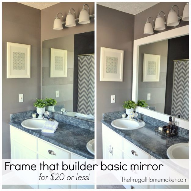 DIY Home Improvement Projects On A Budget - Frame that Builder Basic Mirror- Cool Home Improvement Hacks, Easy and Cheap Do It Yourself Tutorials for Updating and Renovating Your House - Home Decor Tips and Tricks, Remodeling and Decorating Hacks - DIY Projects