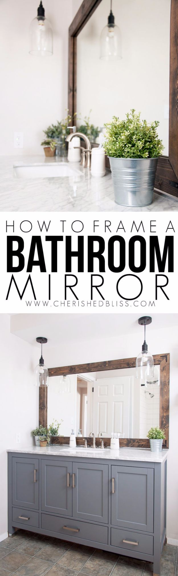 DIY Remodeling Hacks - Frame a Bathroom Mirror - Quick and Easy Home Repair Tips and Tricks - Cool Hacks for DIY Home Improvement Ideas - Cheap Ways To Fix Bathroom, Bedroom, Kitchen, Outdoor, Living Room and Lighting - Creative Renovation on A Budget - DIY Projects and Crafts by DIY JOY #remodeling #homeimprovement #diy #hacks