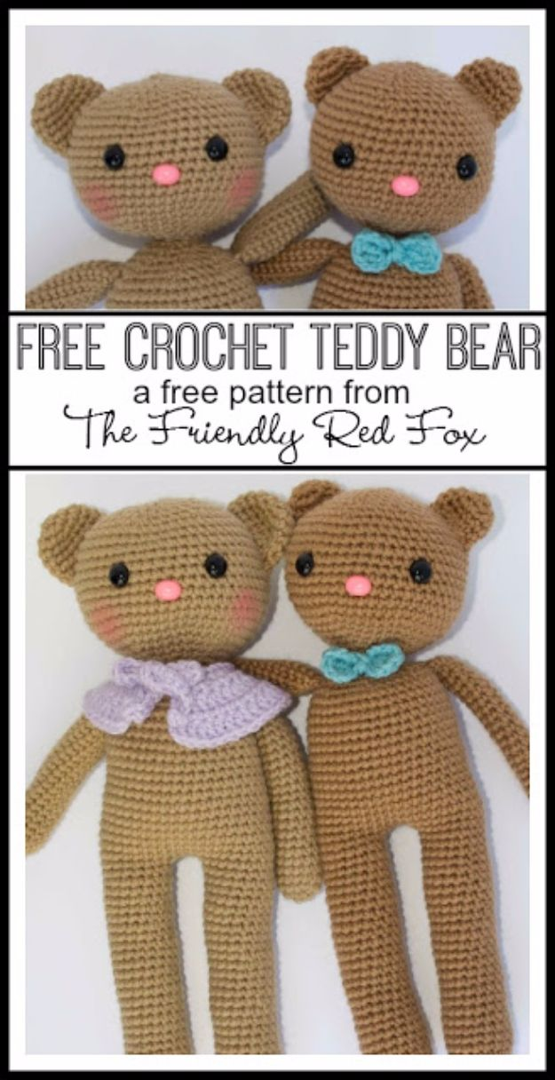 Free Amigurumi Patterns For Beginners and Pros - Friendly Bears - Easy Amigurimi Tutorials With Step by Step Instructions - Learn How To Crochet Cute Amigurimi Animals, Doll, Mobile, Mini Elephant, Cat, Dinosaur, Owl, Bunny, Dog - Creative Ways to Crochet Cool DIY Gifts for Kids, Teens, Baby and Adults http://diyjoy.com/free-amigurumi-patterns