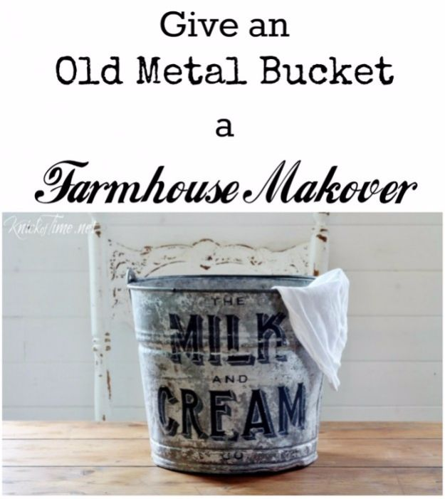 Farmhouse Decor to Make And Sell - Galvanized Old Metal Bucket - Easy DIY Home Decor and Rustic Craft Ideas - Step by Step Country Crafts, Farmhouse Decor To Make and Sell on Etsy and at Craft Fairs - Tutorials and Instructions for Creative Ways to Make Money - Best Vintage Farmhouse DIY For Living Room, Bedroom, Walls and Gifts #diydecor