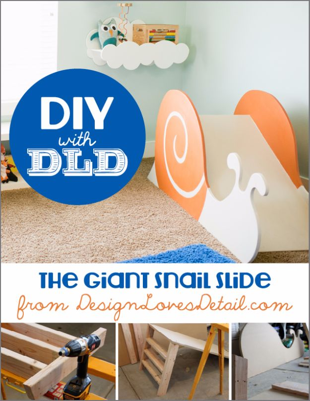 DIY Playroom Ideas and Furniture - Giant Snail Slide - Easy Play Room Storage, Furniture Ideas for Kids, Playtime Rugs and Activity Mats, Shelving, Toy Boxes and Wall Art - Cute DIY Room Decor for Boys and Girls - Fun Crafts with Step by Step Tutorials and Instructions http://diyjoy.com/diy-playroom-ideas