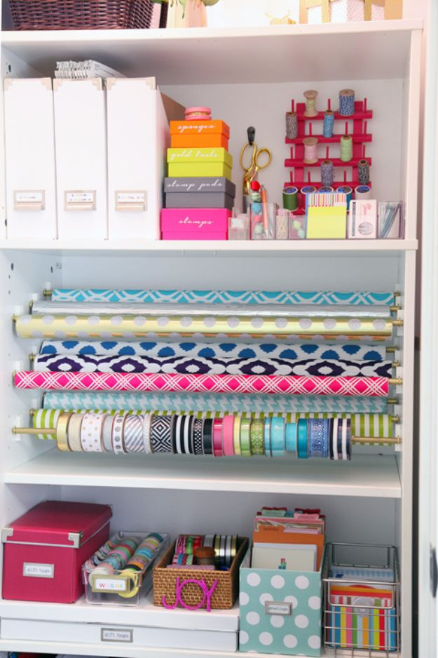 DIY Craft Room Storage Ideas and Craft Room Organization Projects - Gift Wrap Organization Station - Cool Ideas for Do It Yourself Craft Storage, Craft Room Decor and Organizing Project Ideas - fabric, paper, pens, creative tools, crafts supplies, shelves and sewing notions #diyideas #craftroom