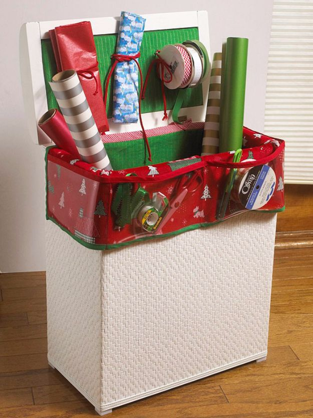 DIY Craft Room Storage Ideas and Craft Room Organization Projects - Gift Wrap Storage Hamper - Cool Ideas for Do It Yourself Craft Storage, Craft Room Decor and Organizing Project Ideas - fabric, paper, pens, creative tools, crafts supplies, shelves and sewing notions http://diyjoy.com/diy-craft-room-storage
