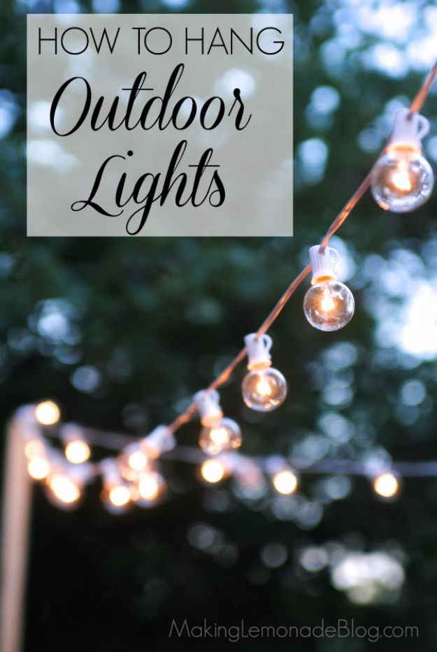DIY Outdoor Lighting Ideas - Globe String Lights - Do It Yourself Lighting Ideas for the Backyard, Patio, Porch and Pool - Lights, Chandeliers, Lamps and String Lights for Your Outdoors - Dining Table and Chair Lighting, Overhead, Sconces and Weatherproof Projects - Walkway, Pool and Garden http://diyjoy.com/diy-outdoor-lighting-ideas
