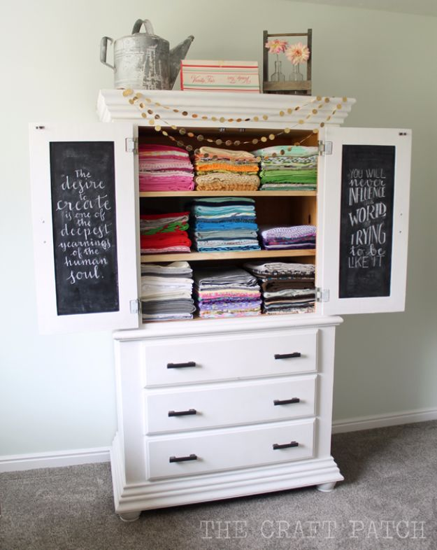 DIY Craft Room Storage Ideas and Craft Room Organization Projects - Glorious Fabric Storage Armoire - Cool Ideas for Do It Yourself Craft Storage, Craft Room Decor and Organizing Project Ideas - fabric, paper, pens, creative tools, crafts supplies, shelves and sewing notions http://diyjoy.com/diy-craft-room-storage