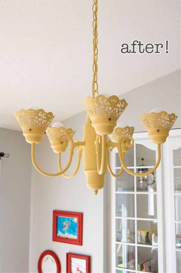 DIY Chandelier Makeovers - Good Chandelier Makeover - Easy Ideas for Old Brass, Crystal and Ugly Gold Chandelier Makeover - Cool Before and After Projects for Chandeliers - Farmhouse, Shabby Chic and Vintage Home Decor on A Budget - Living Room, Bedroom and Dining Room Idea DIY Joy Projects and Crafts http://diyjoy.com/diy-chandelier-makeovers