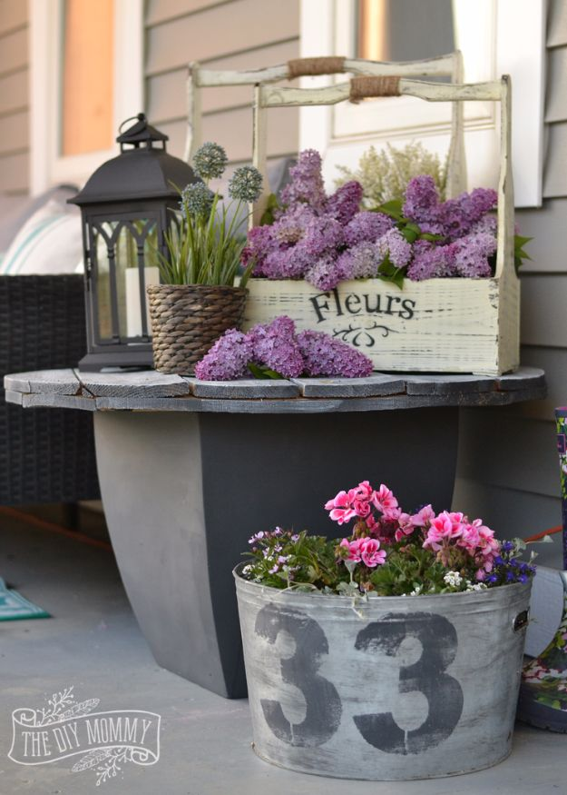 DIY Porch and Patio Ideas - Gray Repurposed Table - Decor Projects and Furniture Tutorials You Can Build for the Outdoors - Lights and Lighting, Mason Jar Crafts, Rocking Chairs, Wreaths, Swings, Bench, Cushions, Chairs, Daybeds and Pallet Signs