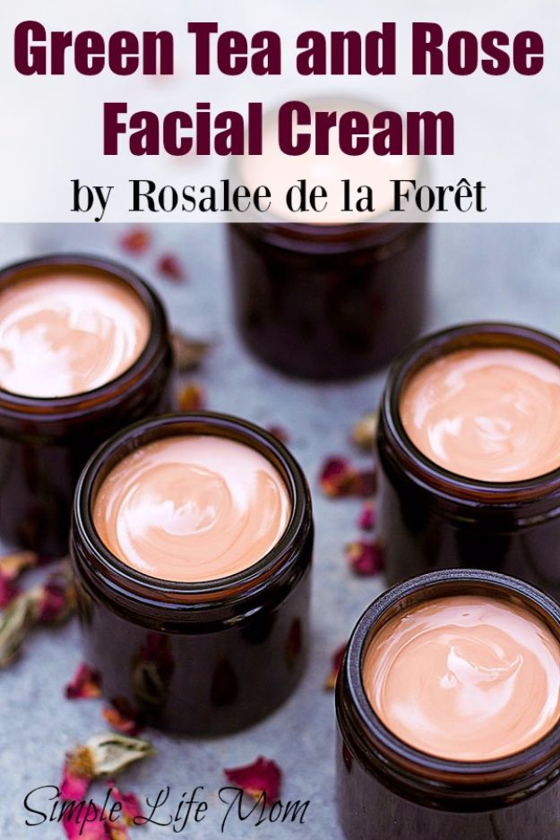 DIY Spa Day Ideas - Green Tea And Rose Facial Cream - Easy Sugar Scrubs, Lotions and Bath Ideas for The Best Pampering You Can Do At Home - Lavender Projects, Relaxing Baths and Bath Bombs, Tub Soaks and Facials - Step by Step Tutorials for Luxury Bath Products http://diyjoy.com/diy-spa-day-ideas