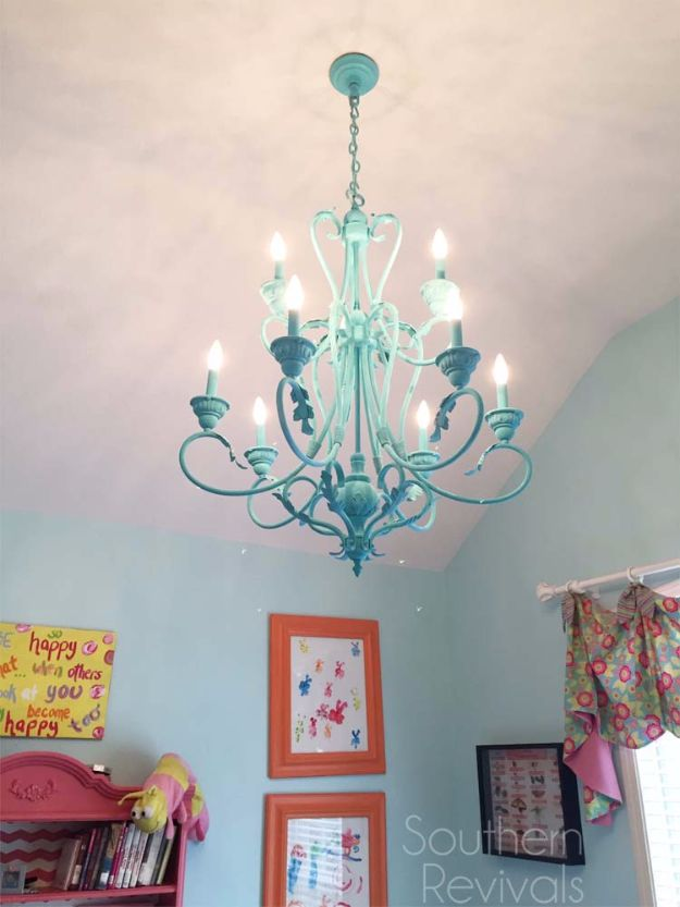 DIY Chandelier Makeovers - Hand Painted Chandelier Makeover - Easy Ideas for Old Brass, Crystal and Ugly Gold Chandelier Makeover - Cool Before and After Projects for Chandeliers - Farmhouse, Shabby Chic and Vintage Home Decor on A Budget - Living Room, Bedroom and Dining Room Idea DIY Joy Projects and Crafts http://diyjoy.com/diy-chandelier-makeovers
