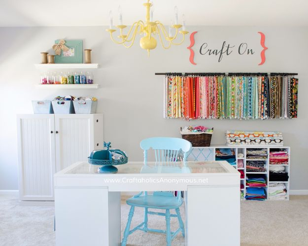 DIY Craft Room Ideas and Craft Room Organization Projects - Hang A Chandelier In Your Craft Room - Cool Ideas for Do It Yourself Craft Storage, Craft Room Decor and Organizing Project Ideas - fabric, paper, pens, creative tools, crafts supplies, shelves and sewing notions