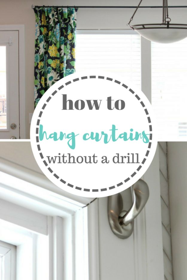 DIY Hacks for Renters - Hang Curtains Without A Drill - Easy Ways to Decorate and Fix Things on Rental Property - Decorate Walls, Cheap Ideas for Making an Apartment, Small Space or Tiny Closet Work For You - Quick Hacks and DIY Projects on A Budget - Step by Step Tutorials and Instructions for Simple Home Decor http://diyjoy.com/diy-hacks-renters