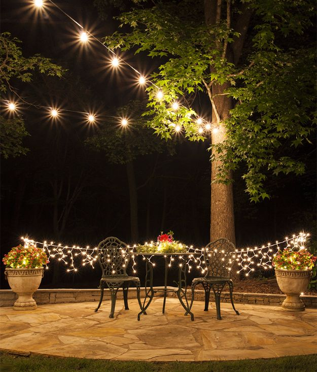 DIY Outdoor Lighting Ideas - Hang Patio Lights - Do It Yourself Lighting Ideas for the Backyard, Patio, Porch and Pool - Lights, Chandeliers, Lamps and String Lights for Your Outdoors - Dining Table and Chair Lighting, Overhead, Sconces and Weatherproof Projects #diy #lighting