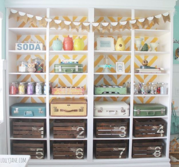 DIY Craft Room Ideas and Craft Room Organization Projects - Herringbone Bookcase - Cool Ideas for Do It Yourself Craft Storage, Craft Room Decor and Organizing Project Ideas - fabric, paper, pens, creative tools, crafts supplies, shelves and sewing notions