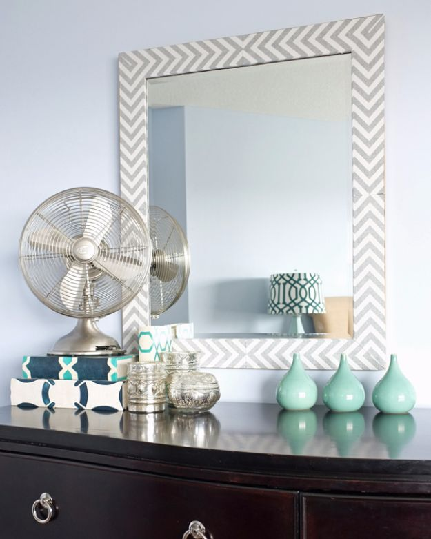 DIY Hacks for Renters - Herringbone Mirror with Fabric - Easy Ways to Decorate and Fix Things on Rental Property - Decorate Walls, Cheap Ideas for Making an Apartment, Small Space or Tiny Closet Work For You - Quick Hacks and DIY Projects on A Budget - Step by Step Tutorials and Instructions for Simple Home Decor http://diyjoy.com/diy-hacks-renters