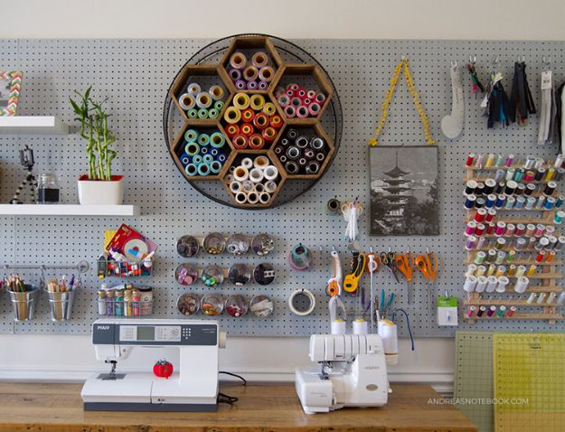 DIY Craft Room Ideas and Craft Room Organization Projects - Hexagon Shelves - Cool Ideas for Do It Yourself Craft Storage, Craft Room Decor and Organizing Project Ideas - fabric, paper, pens, creative tools, crafts supplies, shelves and sewing notions