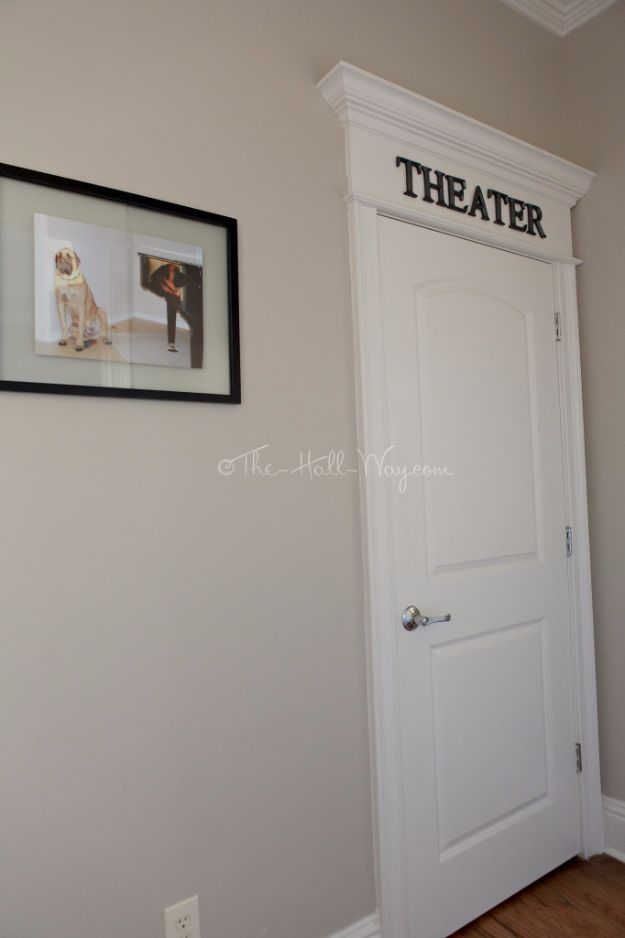 DIY Media Room Ideas - Home Theater Entrance - Do It Yourslef TV Consoles, Wall Art, Sofas and Seating, Chairs, TV Stands, Remote Holders and Shelving Tutorials - Creative Furniture for Movie Rooms and Video Game Stations http://diyjoy.com/diy-media-room-ideas