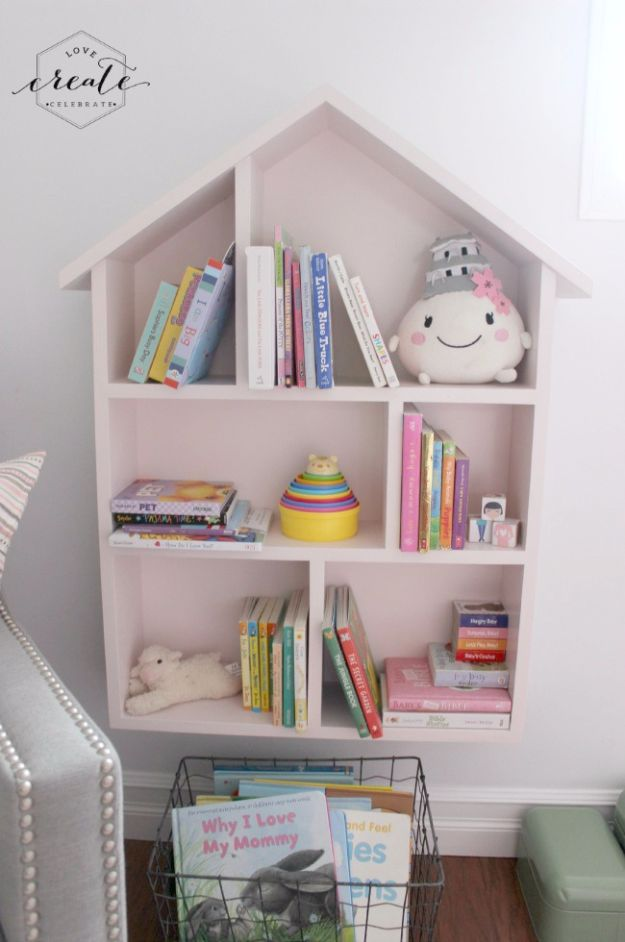 DIY Playroom Ideas and Furniture - House Bookshelf - Easy Play Room Storage, Furniture Ideas for Kids, Playtime Rugs and Activity Mats, Shelving, Toy Boxes and Wall Art - Cute DIY Room Decor for Boys and Girls - Fun Crafts with Step by Step Tutorials and Instructions http://diyjoy.com/diy-playroom-ideas