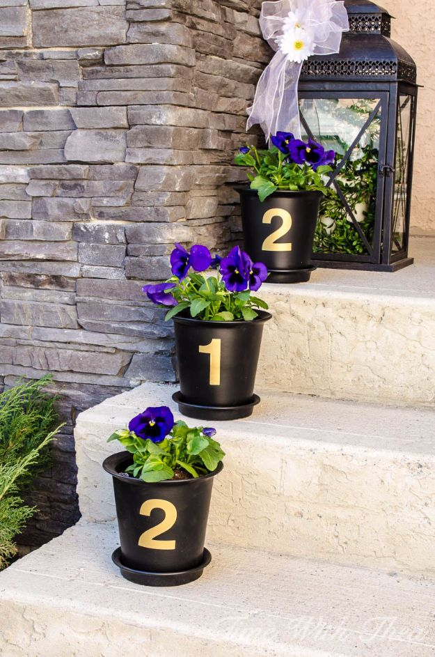 DIY Porch and Patio Ideas - House Number Flower Pots - Decor Projects and Furniture Tutorials You Can Build for the Outdoors - Lights and Lighting, Mason Jar Crafts, Rocking Chairs, Wreaths, Swings, Bench, Cushions, Chairs, Daybeds and Pallet Signs http://diyjoy.com/diy-porch-patio-decor