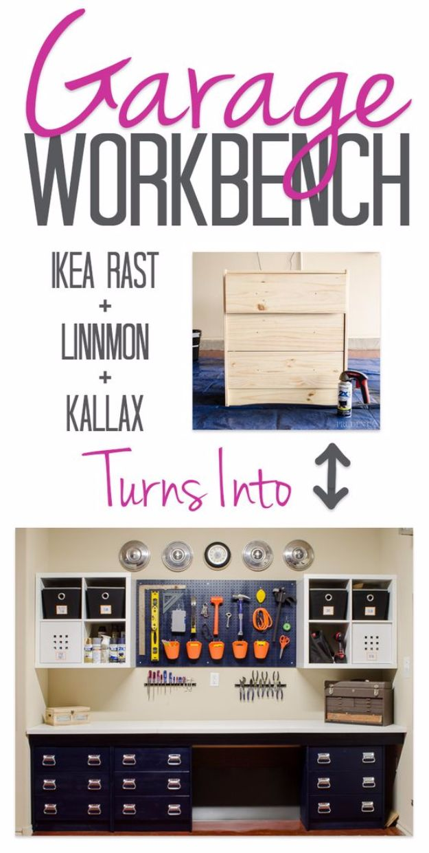 DIY Projects Your Garage Needs - IKEA Hacked Garage Storage - Do It Yourself Garage Makeover Ideas Include Storage, Mudroom, Organization, Shelves, and Project Plans for Cool New Garage Decor - Easy Home Decor on A Budget http://diyjoy.com/diy-garage-ideas