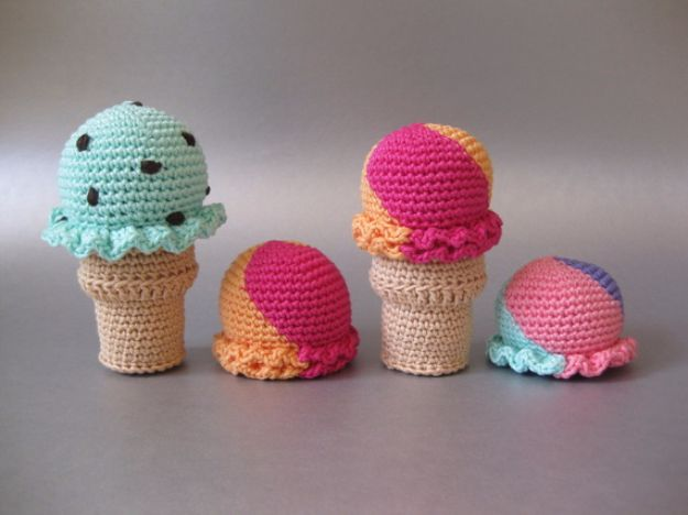 Free Amigurumi Patterns For Beginners and Pros - Ice Cream Amigurumi - Easy Amigurimi Tutorials With Step by Step Instructions - Learn How To Crochet Cute Amigurimi Animals, Doll, Mobile, Mini Elephant, Cat, Dinosaur, Owl, Bunny, Dog - Creative Ways to Crochet Cool DIY Gifts for Kids, Teens, Baby and Adults http://diyjoy.com/free-amigurumi-patterns