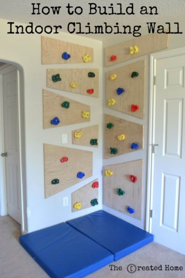 DIY Playroom Ideas and Furniture - Indoor Climbing Wall - Easy Play Room Storage, Furniture Ideas for Kids, Playtime Rugs and Activity Mats, Shelving, Toy Boxes and Wall Art - Cute DIY Room Decor for Boys and Girls - Fun Crafts with Step by Step Tutorials and Instructions http://diyjoy.com/diy-playroom-ideas