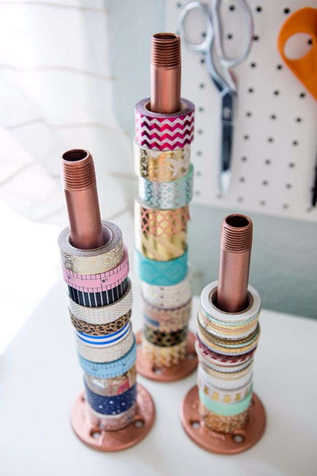 DIY Craft Room Storage Ideas and Craft Room Organization Projects - Industrial Pipe Holder - Cool Ideas for Do It Yourself Craft Storage, Craft Room Decor and Organizing Project Ideas - fabric, paper, pens, creative tools, crafts supplies, shelves and sewing notions #diyideas #craftroom