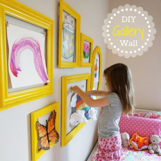 DIY Playroom Ideas and Furniture - Kid's Art Gallery Wall - Easy Play Room Storage, Furniture Ideas for Kids, Playtime Rugs and Activity Mats, Shelving, Toy Boxes and Wall Art - Cute DIY Room Decor for Boys and Girls - Fun Crafts with Step by Step Tutorials and Instructions http://diyjoy.com/diy-playroom-ideas