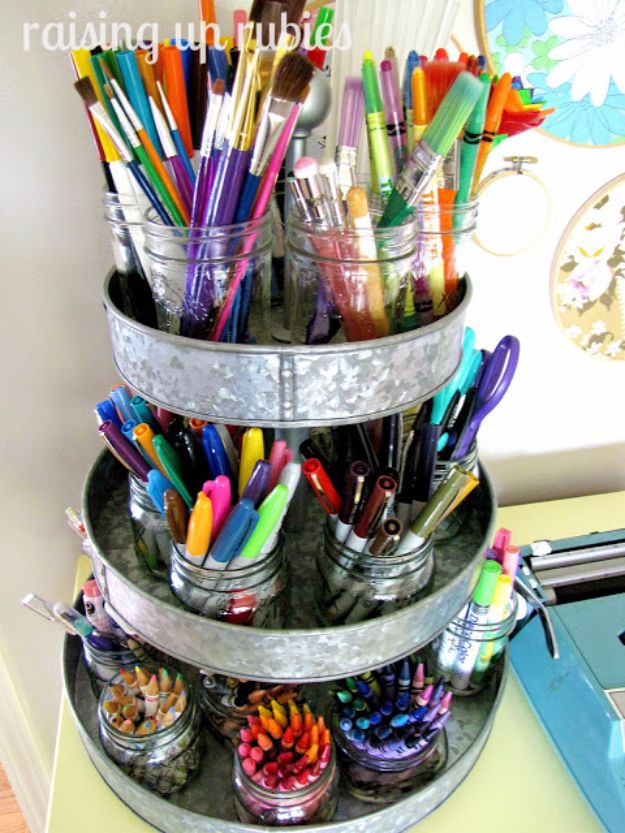 DIY Craft Room Storage Ideas and Craft Room Organization Projects - Kitchen Tin Organizer - Cool Ideas for Do It Yourself Craft Storage, Craft Room Decor and Organizing Project Ideas - fabric, paper, pens, creative tools, crafts supplies, shelves and sewing notions http://diyjoy.com/diy-craft-room-storage