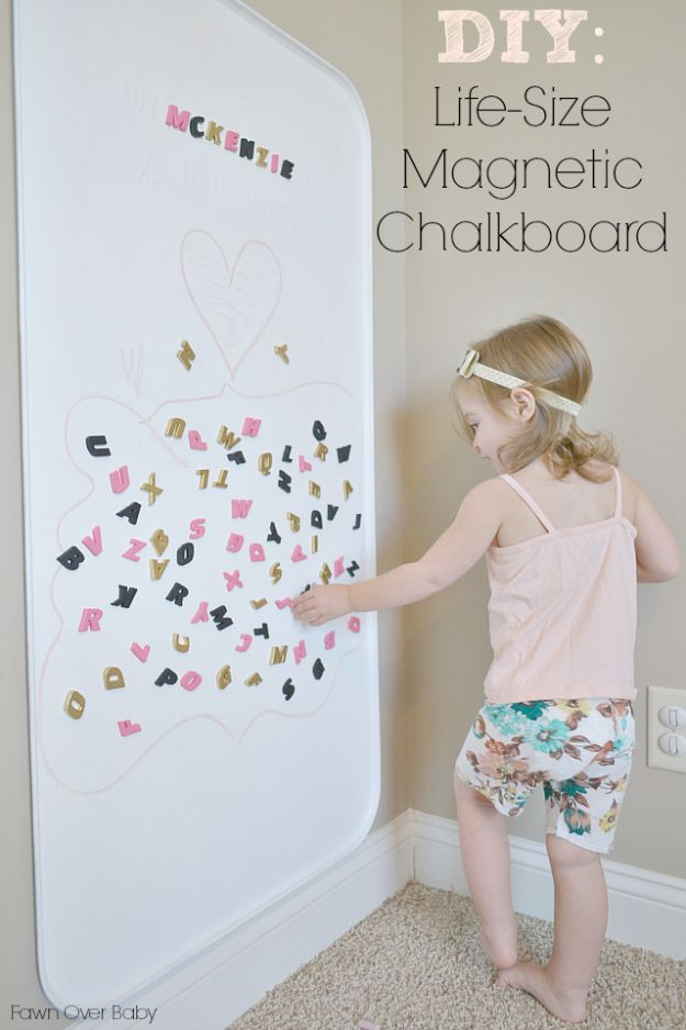 DIY Playroom Ideas and Furniture - Life-Size Magnetic Chalkboard - Easy Play Room Storage, Furniture Ideas for Kids, Playtime Rugs and Activity Mats, Shelving, Toy Boxes and Wall Art - Cute DIY Room Decor for Boys and Girls - Fun Crafts with Step by Step Tutorials and Instructions http://diyjoy.com/diy-playroom-ideas