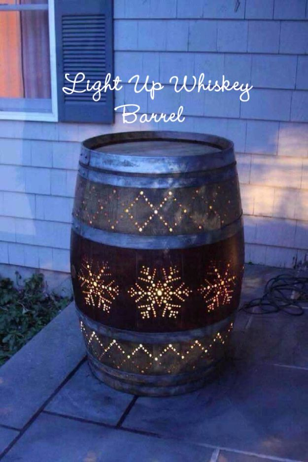 DIY Ideas With Old Barrels - Light Up Whiskey Barrel - Rustic Farmhouse Decor Tutorials and Projects Made With a Barrel - Easy Vintage Home Decor for Kitchen, Living Room and Bathroom - Creative Country Crafts, Dog Beds, Seating, Furniture, Patio Decor and Rustic Wall Art and Accessories to Make and Sell