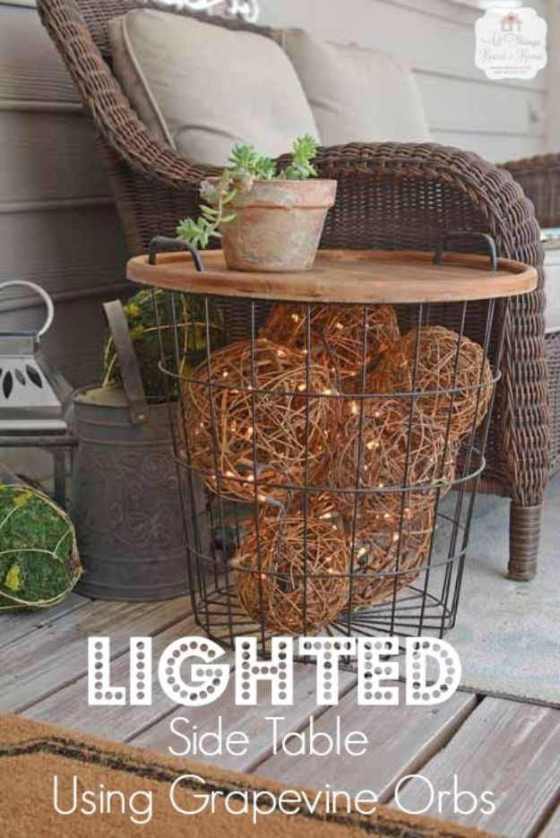 DIY Outdoor Lighting Ideas - Lighted Side Table Using Grapevine Orbs - Do It Yourself Lighting Ideas for the Backyard, Patio, Porch and Pool - Lights, Chandeliers, Lamps and String Lights for Your Outdoors - Dining Table and Chair Lighting, Overhead, Sconces and Weatherproof Projects #diy #lighting